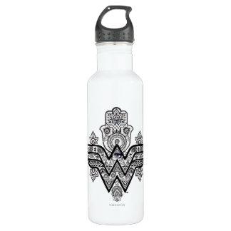 Logo Wunder-Frauen-geistiges Paisleys Hamsa Trinkflasche