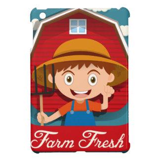 Logoentwurf mit Bauern und Scheune iPad Mini Hüllen