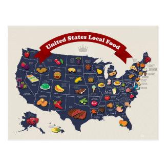 Lokale Nahrungsmittelkarte Vereinigter Staaten Postkarten
