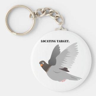 Lokalisieren Ziel-des grauen Tauben-Cartoon Schlüsselanhänger