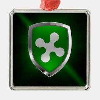 Lombardia metallisches Emblem Quadratisches Silberfarbenes Ornament