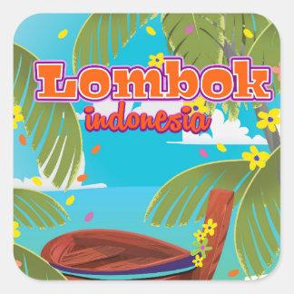 Lombok Inselfeiertags-Reiseplakat Quadratischer Aufkleber