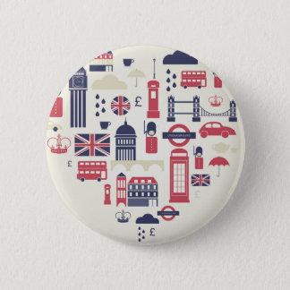 London am Herzen Runder Button 5,1 Cm