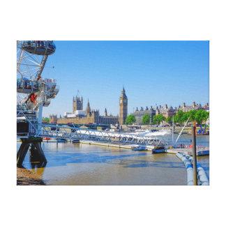 London-Auge und Häuser des Parlaments-Druckes Leinwanddruck