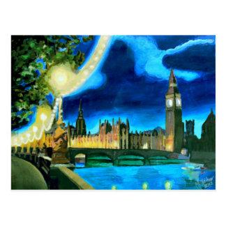 London Big Ben und Parlament mit Themse Postkarte