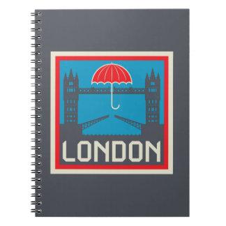 London-Brücke mit Regenschirm Notizblock