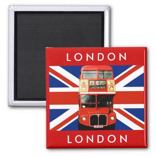 London-Bus und britische Flagge Kühlschrankmagnet