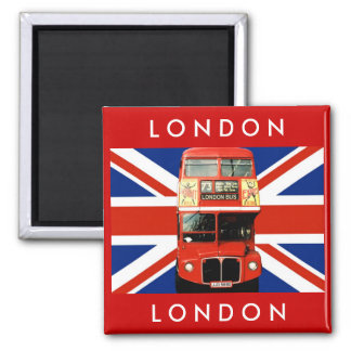 London-Bus und britische Flagge Quadratischer Magnet