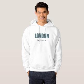London (elegante blaue u. graue Typografie) Hoodie