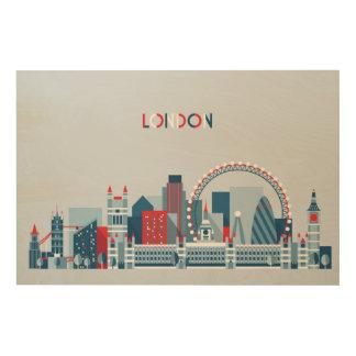 London, England | rote, weiße und blaue Skyline Holzleinwand