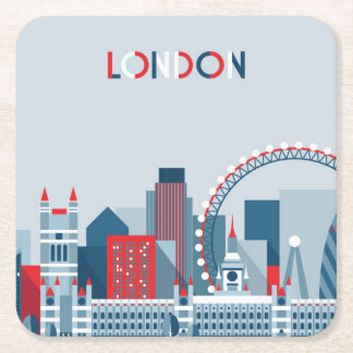 London, England | rote, weiße und blaue Skyline Rechteckiger Pappuntersetzer