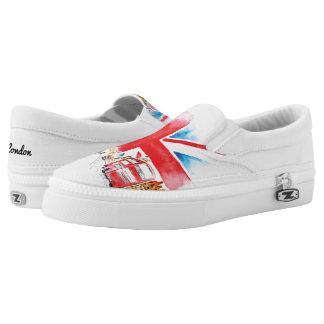 London großes Big Ben auf Schuhen, Großbritannien: Slip-On Sneaker