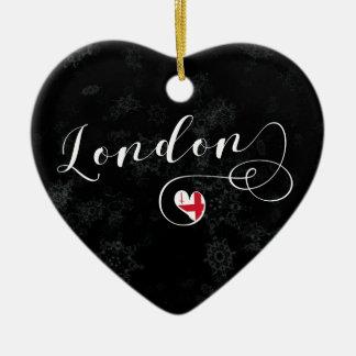 London-Herz, Weihnachtsbaum-Verzierung, England Keramik Ornament