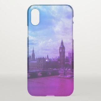 London iPhone X lila transparenter Kasten iPhone X Hülle