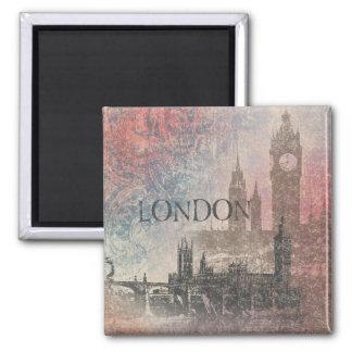 London mit Parlaments-rotem und blauem Vintagem Quadratischer Magnet