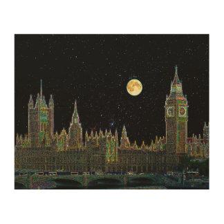 London-Parlaments-Skyline nachts mit Dummkopf-Mond Holzleinwand