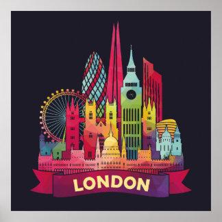 London - Reise zu den berühmten Sehenswürdigkeiten Poster