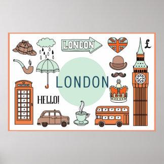London-Sachen, Reise-Plakat Poster