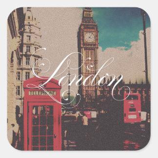 London-Sehenswürdigkeit-Vintages Foto Quadratischer Aufkleber