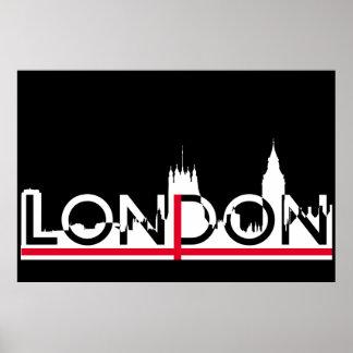 London-Silhouette und englische Flagge Poster