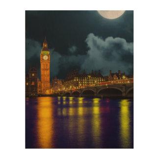 London-Skyline Big Ben, England Holzdruck