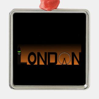 London-Skyline Quadratisches Silberfarbenes Ornament