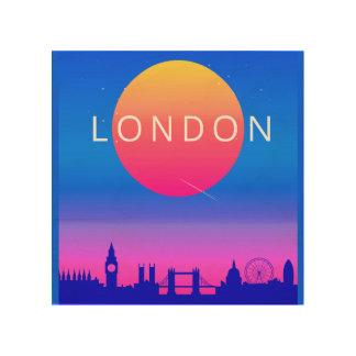 London-Skyline-Sonnenuntergang-Reise-Plakat Holzleinwand