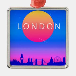London-Skyline-Sonnenuntergang-Reise-Plakat Silbernes Ornament