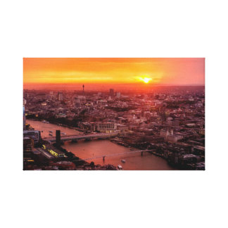 London-Sonnenuntergangs-Skyline Leinwanddruck