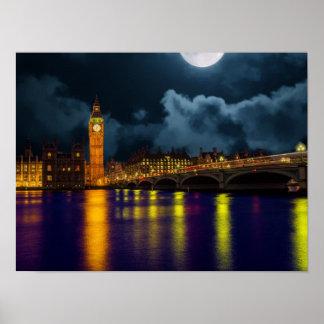 London-Szene mit der Themse und Big Ben Poster