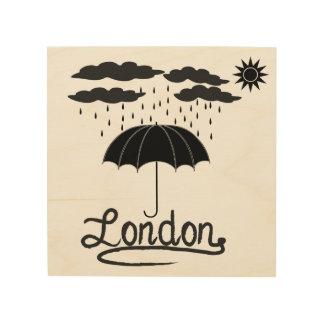 London | unter einem Regenschirm Holzdruck