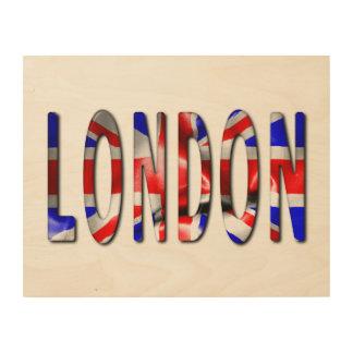 London-Wort mit Flaggen-Beschaffenheits-hölzerner Holzdruck