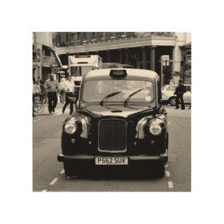 Londonschwarzweiss-Fahrerhausholz Holzdruck