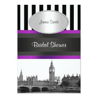 LondonSkyline BW Schwarzes weißes Strp lila 12,7 X 17,8 Cm Einladungskarte