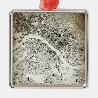 Londonstraßen-und -Gebäude-Vintage Karte Silbernes Ornament