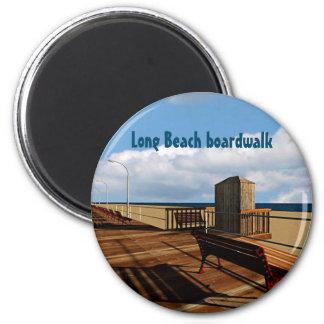 Long Beach boardwalk Runder Magnet 5,1 Cm