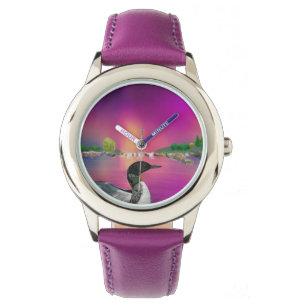 Loon und Nordlichter Armbanduhr