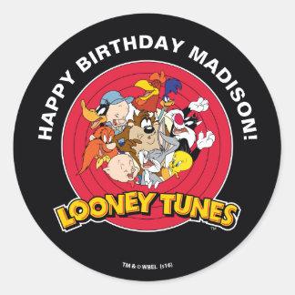 Looney Geburtstag der Melodien-Charakter-Gruppen-| Runder Aufkleber