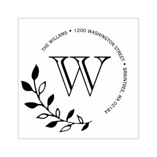 Lorbeer-Blätter-Monogramm-Rücksendeadresse Gummistempel