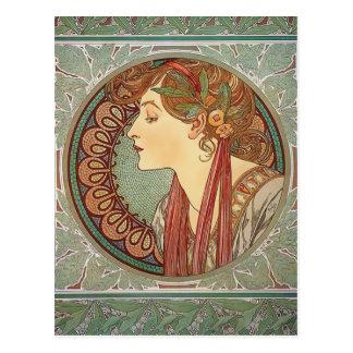 Lorbeer durch Kunst Alphonse Mucha nouveau Postkarte