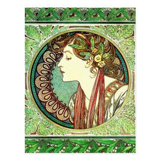 Lorbeer-Postkarte Alphonse Mucha Postkarte