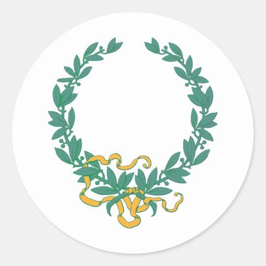 lorbeerkranz laurel wreath runder aufkleber