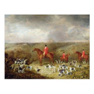 Lord Glamis und seine Staghounds, 1823 (Öl auf Postkarte