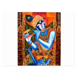 LORD KRISHNA INDIAN ABSTRACT POSTKARTE