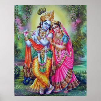 Lord Krishna u. Radha Poster