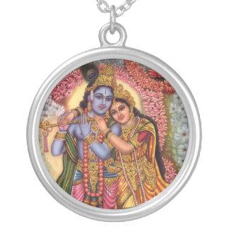 Lord Krishna u. Radha Versilberte Kette