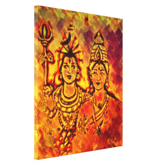 Lord Shiva Parvati Stretched Canvas Druck Leinwanddruck