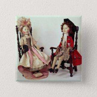 Lord und Dame Clapham Quadratischer Button 5,1 Cm