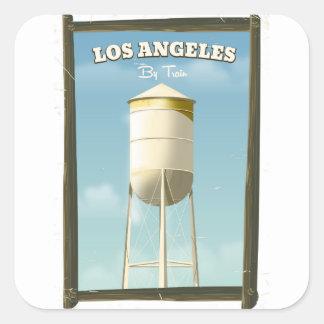 Los Angeles durch Zugplakat Quadratischer Aufkleber