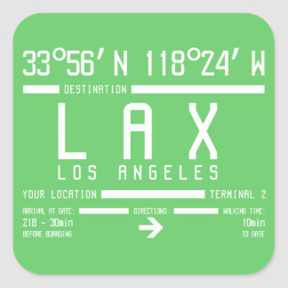 Los Angeles-Flughafen-Code Quadrat-Aufkleber